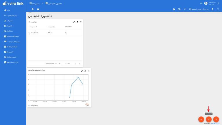 افزودن ابزارک نمودار پلتفرم اینترنت اشیا ویرالینک